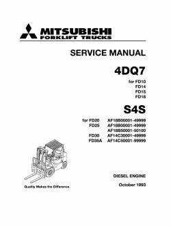 Mitsubishi Engine 4DQ7 / S4S, Service workshop manual for