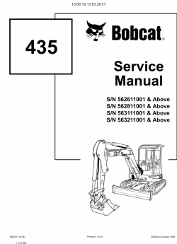 Bobcat Excavators, Service Manuals and Operation