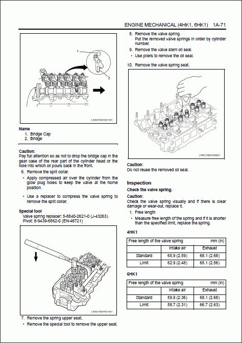 Isuzu Engine 4HK1, 6HK1 models, repair manual for ISUZU